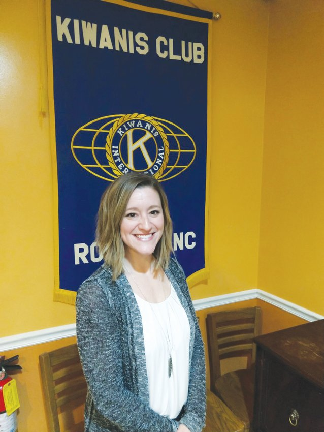 Executive Director of Person County Partnership for Children Allison Satterfield spoke of accomplishments by and challenges for the organization, as she addressed attendees of the February meeting of the Roxboro Kiwanis Club.