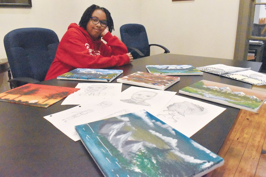 Jade Torain's artwork  includes a wide range of pencil sketches and paintings on canvas.