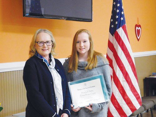 Priscilla Dalton right, won the Good Citizen Award for Roxboro Christian Academy. DAR Good CItizen Committee chairwoman Pamela Wood presented her with a certificate noting her honor.