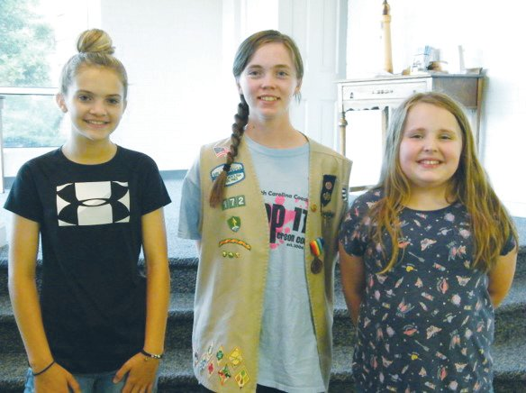 Person County's top three Girl Scout cookie sellers include, from left, Katelyn Clement, Latrell Baker and Mary Roberts.