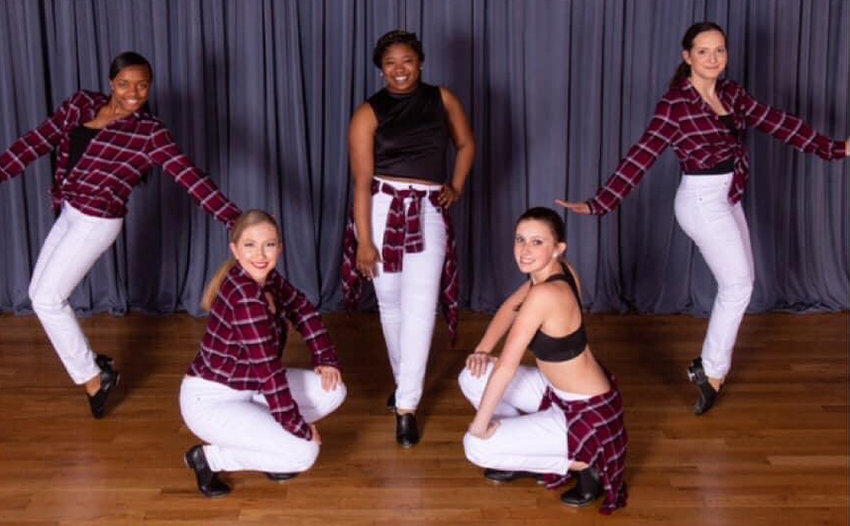 From left to right – India Burton, Melissa Carver, Jaliyah Smith, Payton Walker, and Hayleigh Taylor all pose for a photo. Fabulous Feet offers a wide variety of dance classes, from ballet to tap.