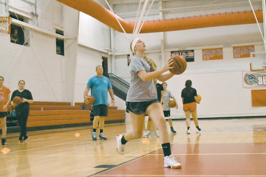 Marissa Merritt goes up for two in a shooting drill in Thursday's workouts.