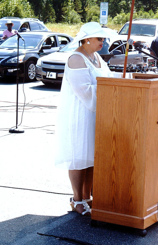 Shirlrona Johnson, principal of PECIL, addresses graduates at Greater Cleggs Chapel Community Missionary Baptist Church during a recent ceremony