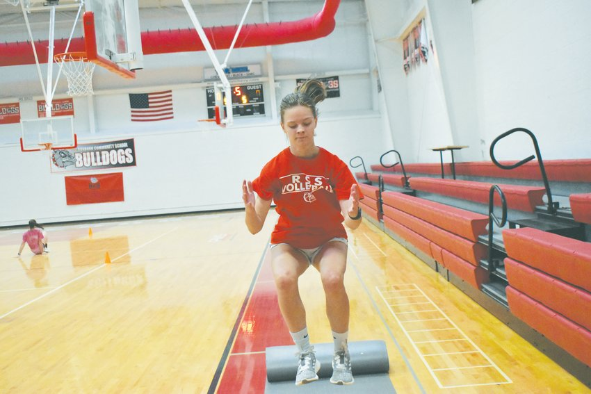 Kayleigh Gentry perfects her box jump at Monday's volleyball workouts. Gentry enters her senior season in the fall.