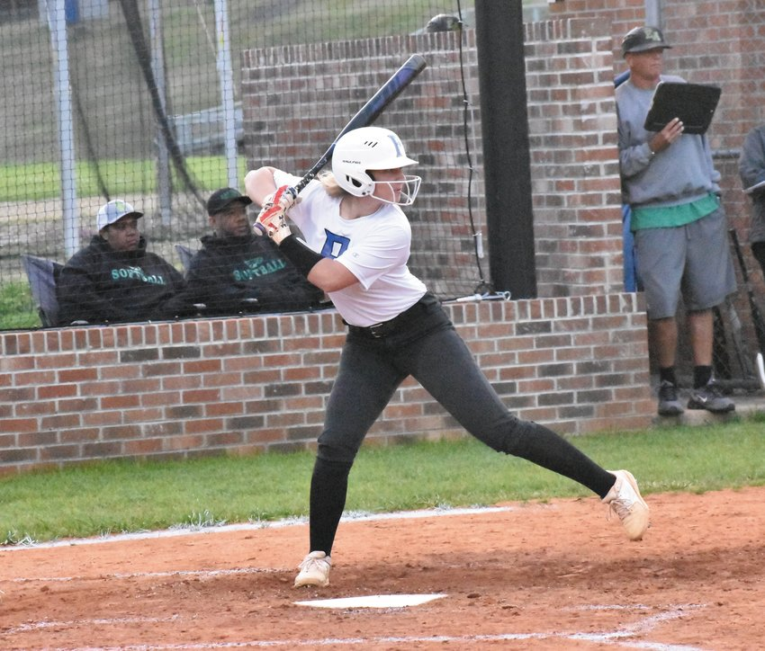 Person High School sophomore Delaney Glover starts her stride during an at-bat agaisnt Eastern Alamance in the Spring 2020 softball season. Glover is playing travel ball this summer – which she attributes to keeping her in shape – with the Williamsburg Starz Gold 18U Pearce.