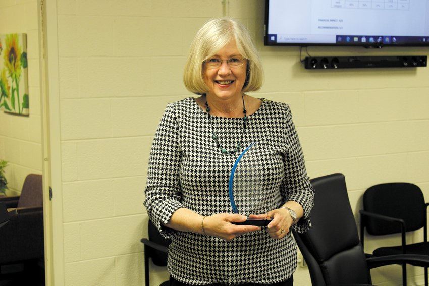 Person County Board of Education chair Dr. Kay Allen was presented a plaque during Monday's meeting. Allen opted not to seek re-election and will soon by moving to Wake County..