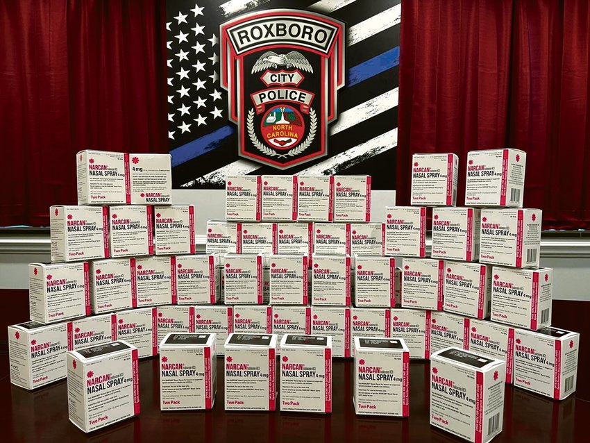 The Roxboro Police Department is fully restocked on naloxone, a drug used to counter drug overdoses, using funds from High Intensity Drug Trafficking Areas grant program funded through the North Carolina Harm Reduction Coalition.