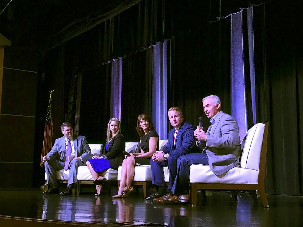 Roughly 450 people attended Springfield Area Chamber of Commerce's annual Membership Luncheon on Aug. 9 at Oasis Hotel & Convention Center. Above, panelists Matt Morrow, far left, Krystal Russell, Denise Silvey, Jeff Childs and Stuart Stangeland take the stage.