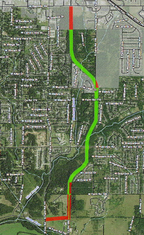 Greene County will start designing the plans for the Kansas Expressway extension to Cox Road. The green portions represent right-of-way areas obtained, while the red is right of way needed to be purchased for the project.