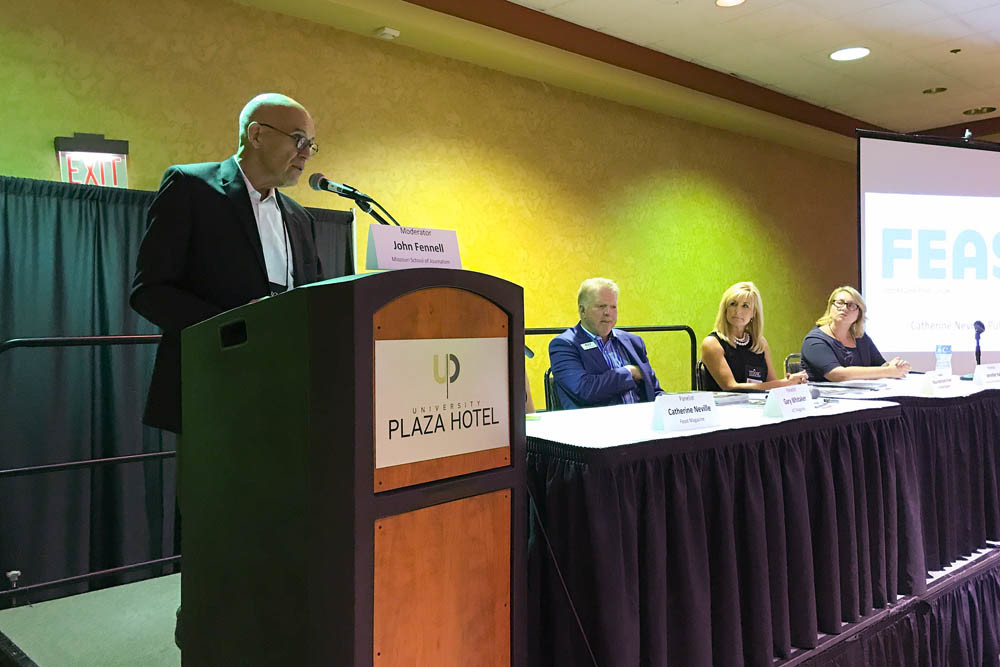 Missouri Press in SGFUniversity of Missouri instructor John Fennell moderates a panel discussion with magazine publishers Gary Whitaker, Missy Pinkel and Jennifer Hall at the MPA conference.