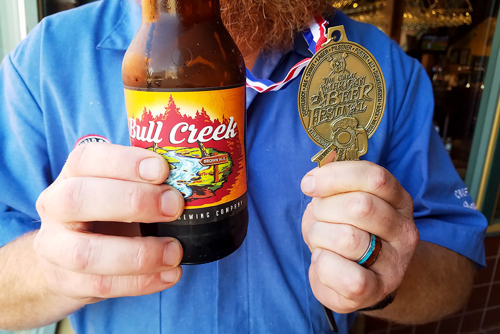 Springfield Brewing Co.'s Bull Creek Brown Ale wins a gold award at the Great American Beer Festival.