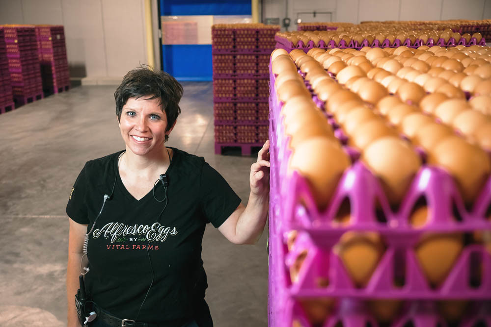 FROM SCRATCH: Tricia Clark oversees 50 employees who move over 1 million eggs through Vital Farms' new factory each day.