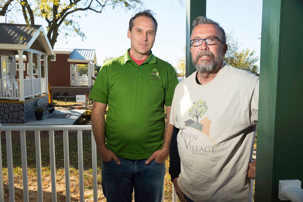 ON A MISSION: The Gathering Tree's Nate Schlueter, left, and Ron Duncan are key to Eden Village.