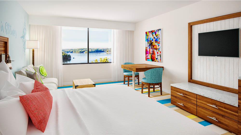 COOLER COLORS: The resort's 500 guest rooms will phase out neutral, earthy tones to be replaced by ocean-inspired hues, above.
