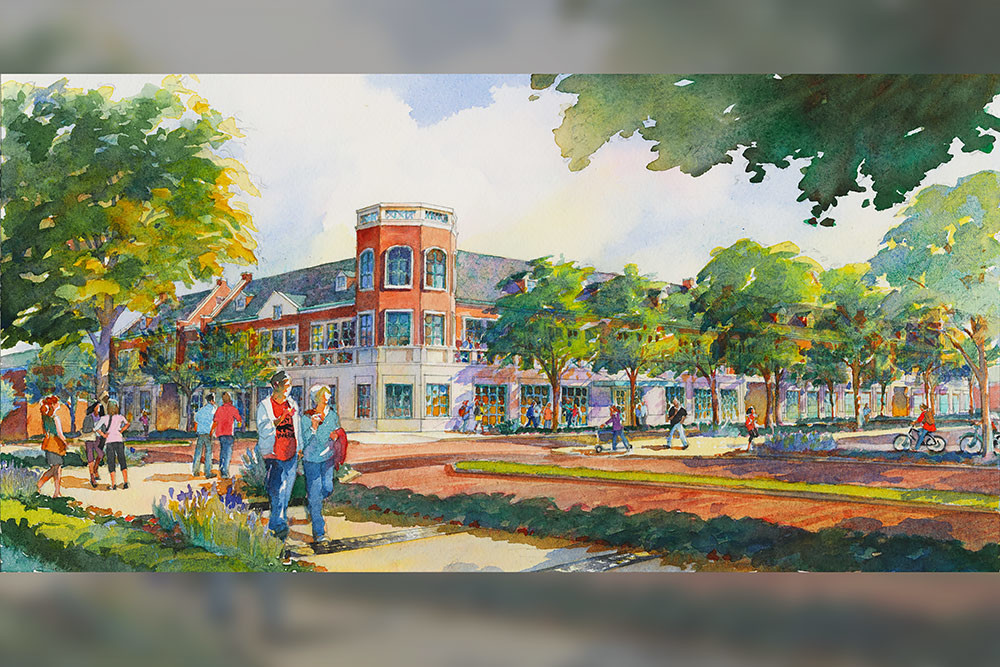 A Design Enterprise Solution Center, which would eventually house the university's Breech School of Business, is proposed on the southeast corner of Central Street and Drury Lane.