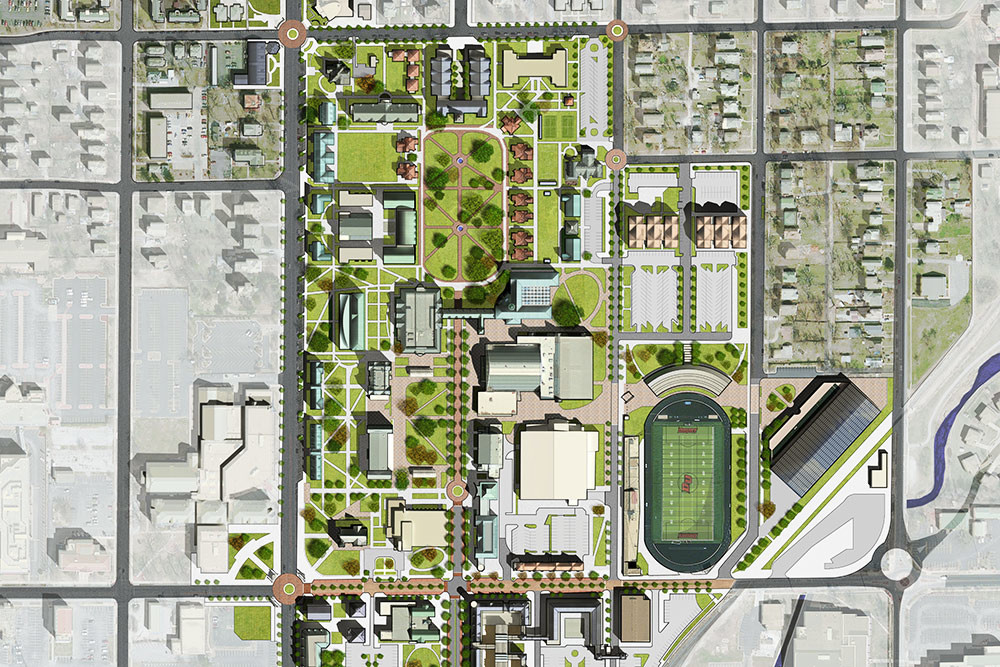 The master plan includes establishing a residential precinct to the north end of campus and an innovation precinct to the south.