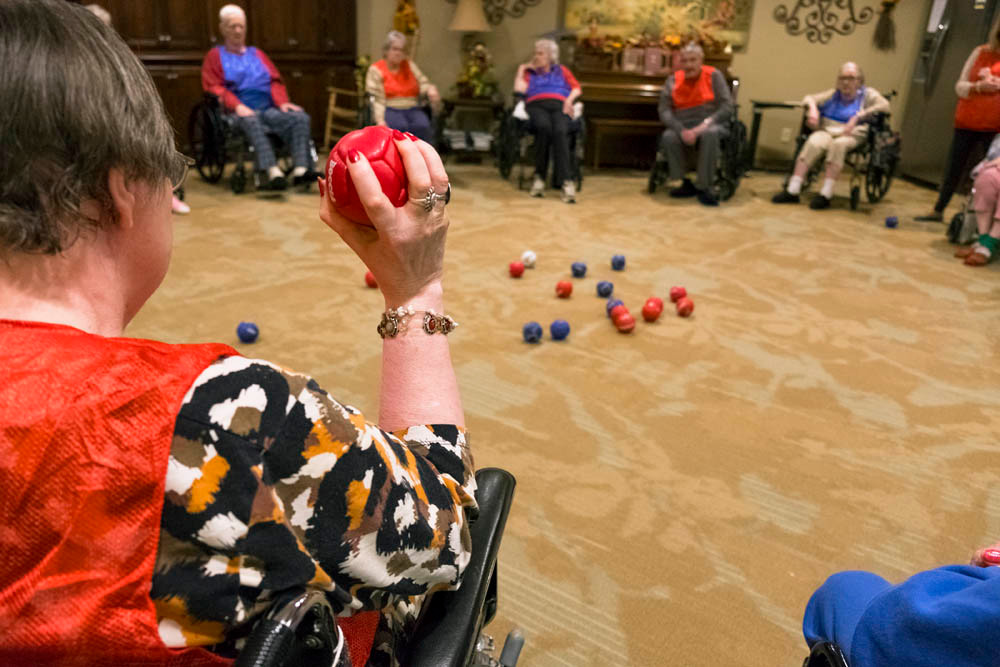 GAME ON: Glendale Gardens Nursing and Rehab teams compete in a friendly game of boccia.