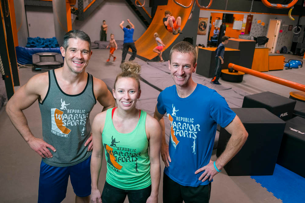 THE WARRIORS: Jon Taylor, Kim Proctor and Sean Saunders train obstacle course skills, mostly to youth, at Republic Warrior Sports.