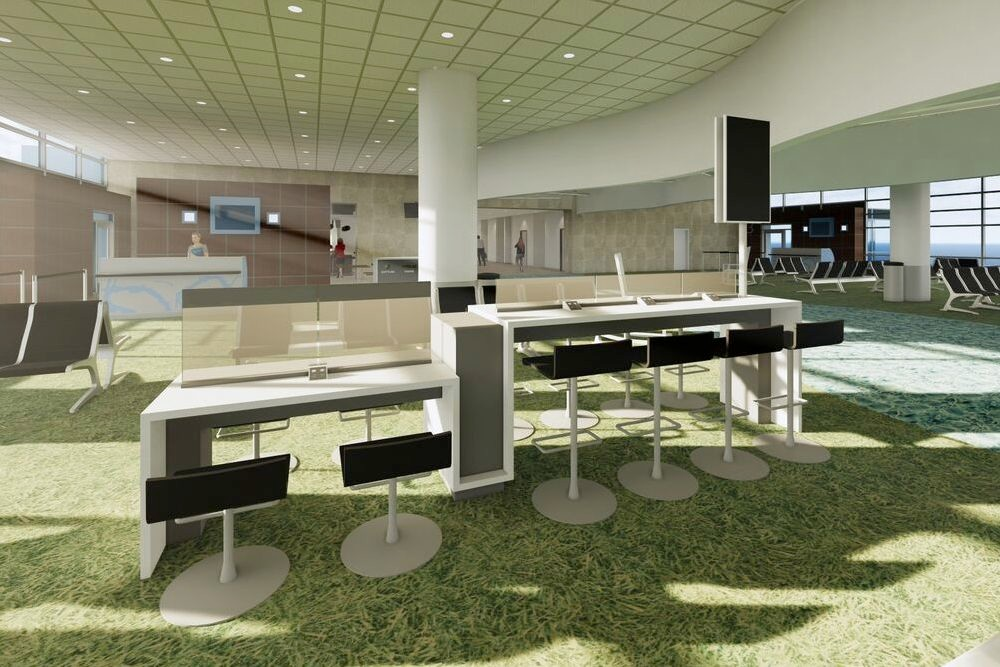 The airport will go from eight to 80 charging stations, located at six task table areas.