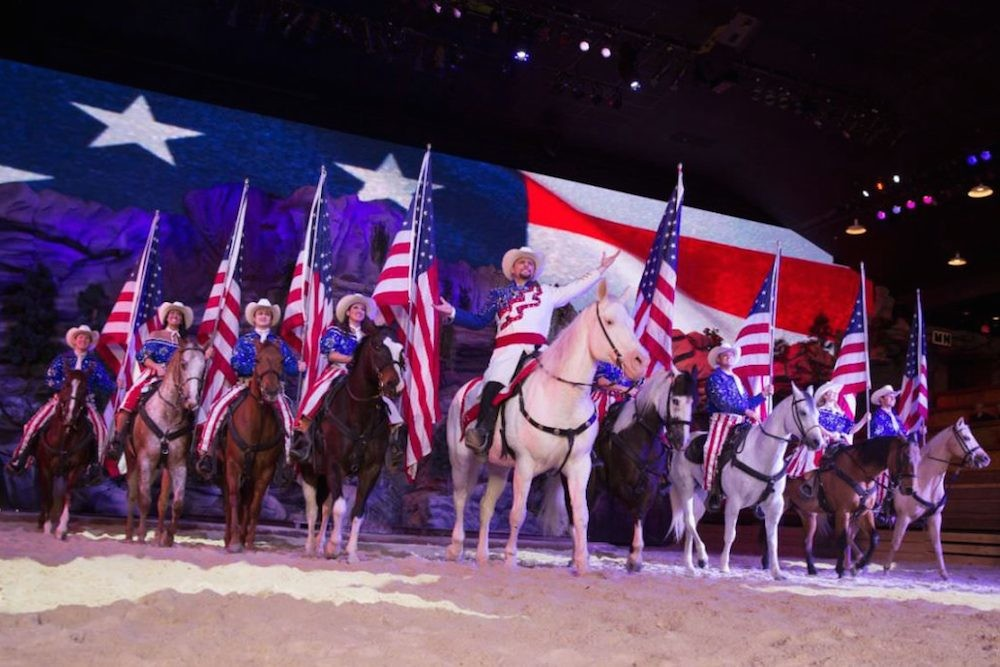 "This season, Dixie Stampede dinner show performers in Branson and Tennessee will operate without ""Dixie"" in the name."