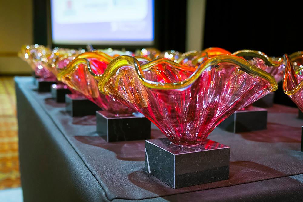 Springfield Hot Glass is the winner of the CVB's Hospitality Award. The company created awards for Springfield Business Journal's 2017 Most Influential Women event, above.