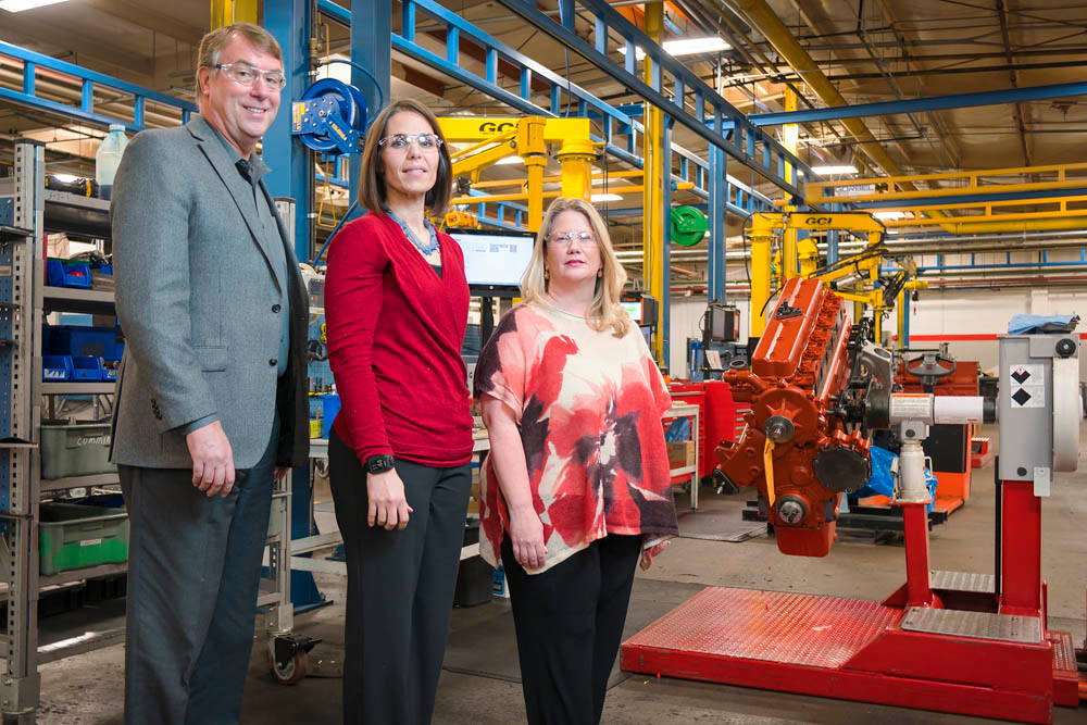 4M AND COUNTING: From left, Bruce Krueger, Denice Rankin and Candida Deckard work to ensure a safe environment at the company's northwest Springfield plant.