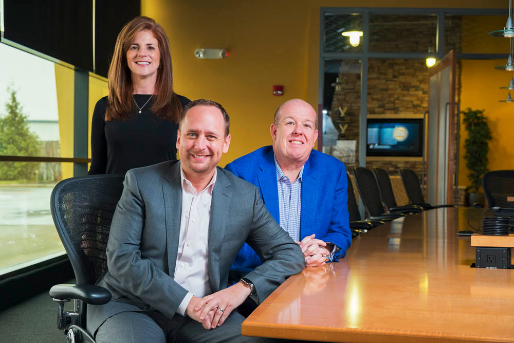 TURNING THE PAGE: Dana Havens, left, Ryan Patterson and Delvan Mitchell left Merrill Lynch to found Affinity Wealth Partners in November 2017.