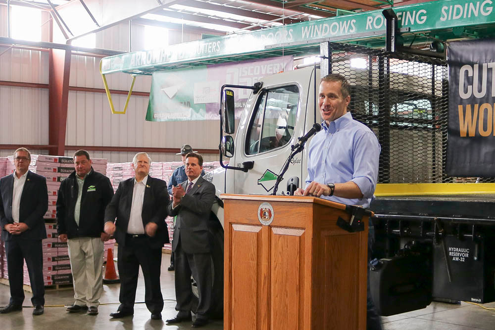 Gov. Eric Greitens visits Arrowhead Building Supply to pitch his tax reform plan.