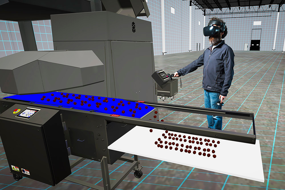 ALTERED PERCEPTION: When he puts on the virtual reality goggles, Self Interactive founder Charlie Rosenbury is transported into the virtual showroom his team created to showcase a meat-processing machine.