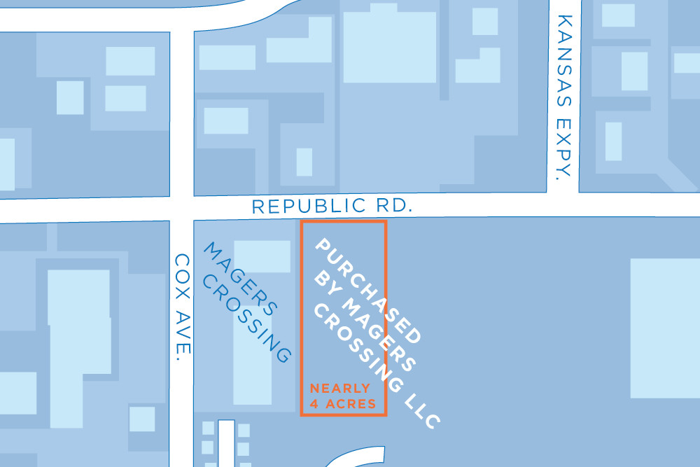Honolulu resident Phil Leas sells nearly 4 acres on Republic Road, outlined above, to Magers Crossing LLC.