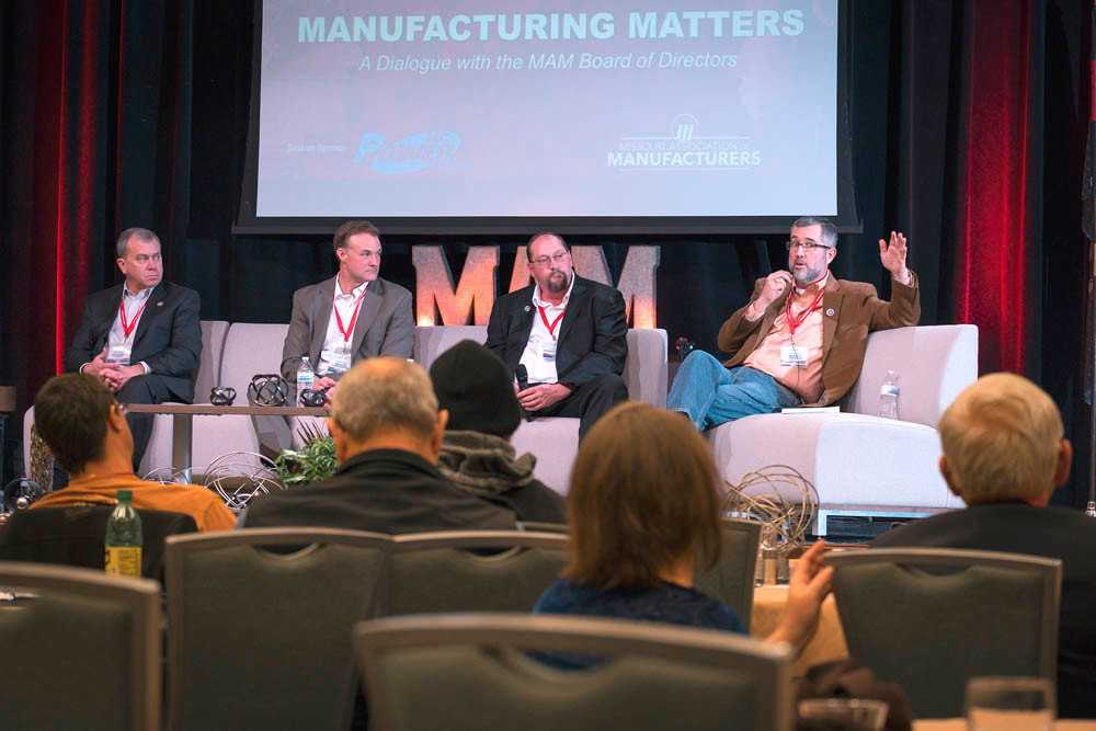 NEW IMAGE: Missouri Association of Manufacturers' panelists, from left, Scott Bolonda, Pete Fischer, Dan Stroot and Kevin Thompson discuss recruitment and retention efforts.
