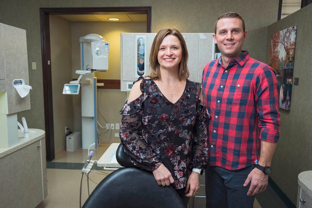MODERN OFFICE: Drs. Tracy Davis and Nick Matthews, co-owners at Excel Dental in Ozark, purchased $250,000 in new technology in 2017.