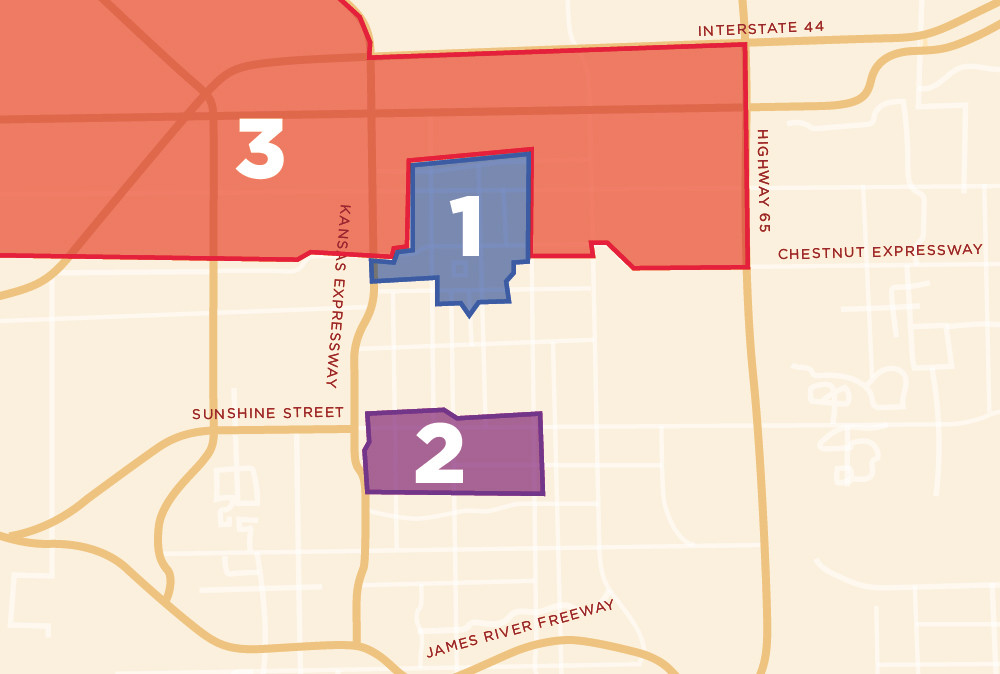 PRIMED FOR DEVELOPMENT: The city of Springfield is seeking approval for three opportunity zones, shown in the representative buildings that follow.