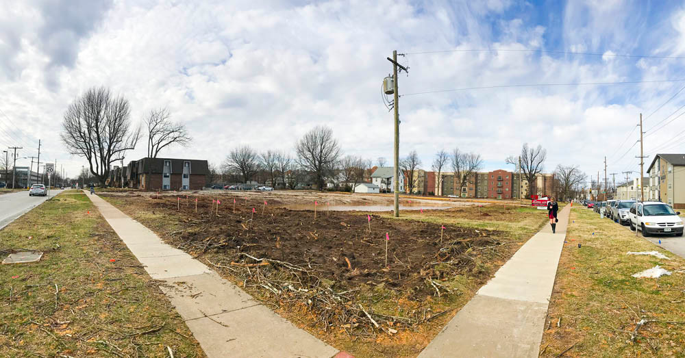 IN WITH THE NEW: Older apartments have been demolished at Holland Avenue and Madison Street to make way for a dorm with room to house 400 Missouri State students.