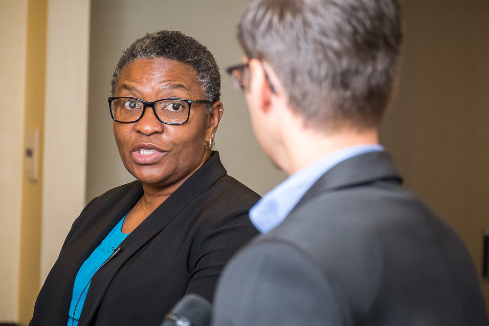 SBJ Editor Eric Olson interviews U.S. Medical Center for Federal Prisoners Warden Linda Sanders.SBJ photo by WES HAMILTON