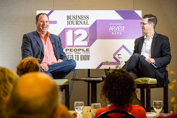 SBJ Editor Eric Olson, right, interviews Alamo Drafthouse Cinema owner John Martin for the business journal's 12 People series.SBJ photo by WES HAMILTON