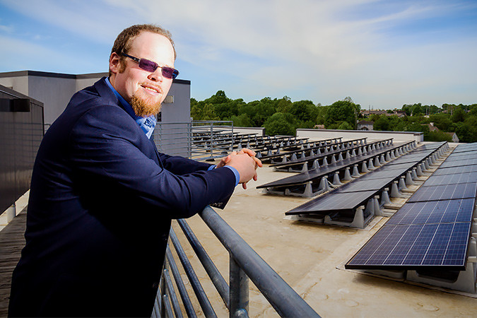 Led by CEO Caleb Arthur, Sun Solar installs over 2,500 solar panels per month, such as this array at Farmers Park.SBJ photo by WES HAMILTON