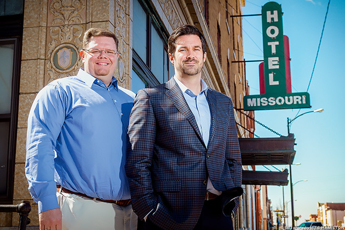 HISTORIC PERSPECTIVE: Partners Titus Williams, left, and Matt M. Miller plan a mixed-use development for C-Street's Missouri Hotel.