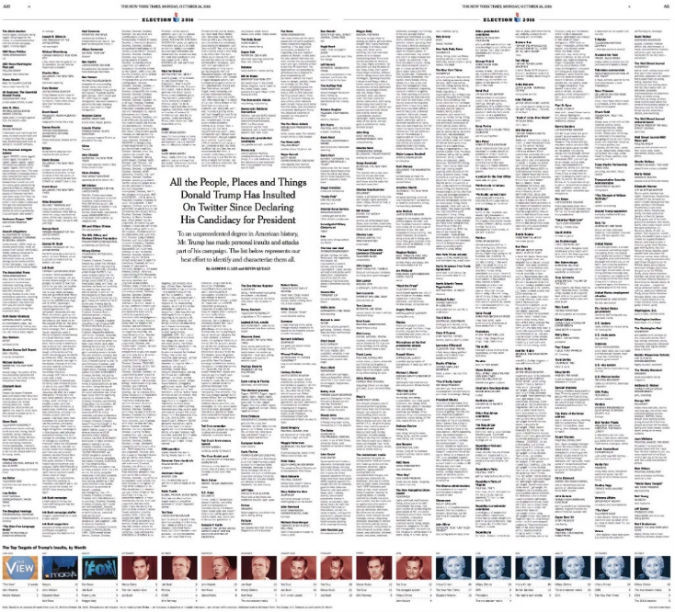 The print version takes up two pages of the newspaper.Photo courtesy THE NEW YORK TIMES