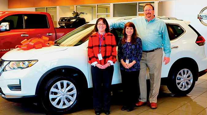 LifeHouse Crisis Maternity Home came to Youngblood Auto Group looking to buy a car for the nonprofit that supports homeless pregnant women and their children. General Manager John Widiger did them one better, augmenting their grant funds so the center could upgrade to a 2017 Nissan Rogue. Widiger is pictured with Maura Taylor, executive director of Catholic Charities of Southern Missouri, left, and Michele Marsh, director of LifeHouse.Photo provided by CATHOLIC CHARITIES OF SOUTHERN MISSOURI