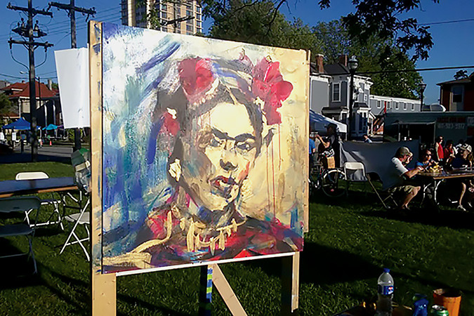 Roughly 20,000 people crowded historic Walnut Street May 6-7 for the annual Artsfest. More than 140 artists from 16 states displayed and sold their works. The People's Choice Award for a work created during the festival went to a speedy likeness of Frida Kahlo by Sarah Jones, shown above.Photo provided by DOWNTOWN SPRINGFIELD ASSOCIATION