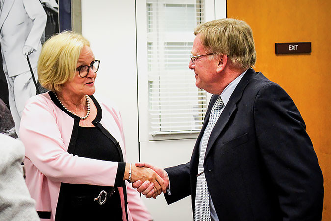 "U.S. Sen. Claire McCaskill, D-Mo., meets with Springfield Mayor Ken McClure and other Queen City leaders ahead of City Council's vote to join a county-level prescription drug monitoring program. ""The opioid epidemic is one of the greatest public health crises of our generation, and we need all hands on deck,"" McCaskill said in a news release. ""Mayor McClure is a strong partner in these efforts, and I look forward to working with him on this issue that is affecting so many families across Missouri.""Photo provided by THE OFFICE OF SEN. CLAIRE McCASKILL"