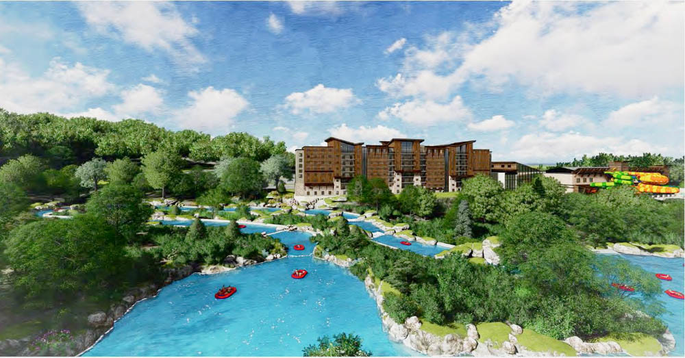 GREAT OUTDOORS: A rendering shows features of the planned $446 million Branson Adventures water park and resort, including a 4-mile whitewater rafting course.
