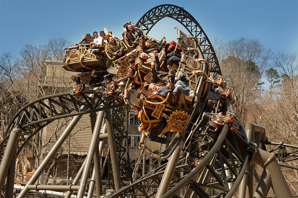 The coaster reaches a top speed of 50.3 mph.