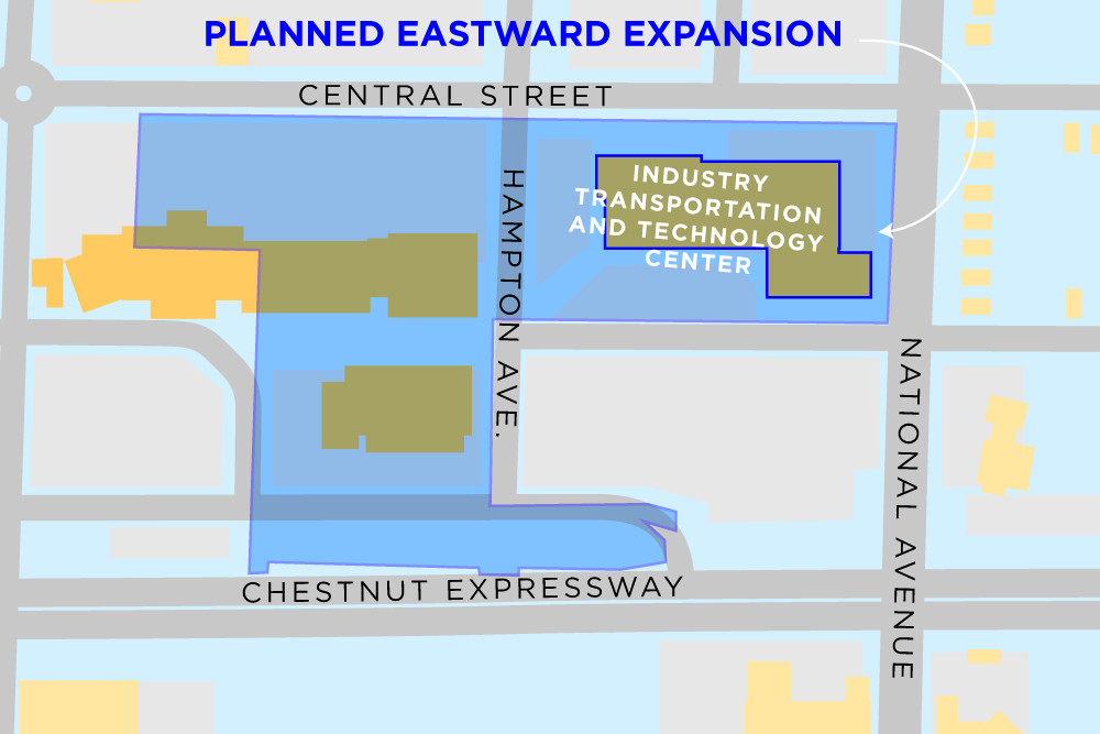 A site map shows the boundaries of a proposed rezoning at OTC and its ITTC building, which is set for an expansion.