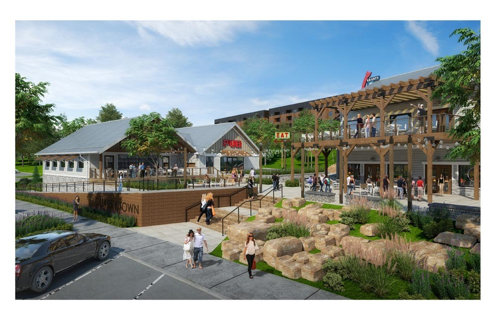 A rendering shows commercial and restaurant space for Quarry Town along South Lone Pine Avenue.
