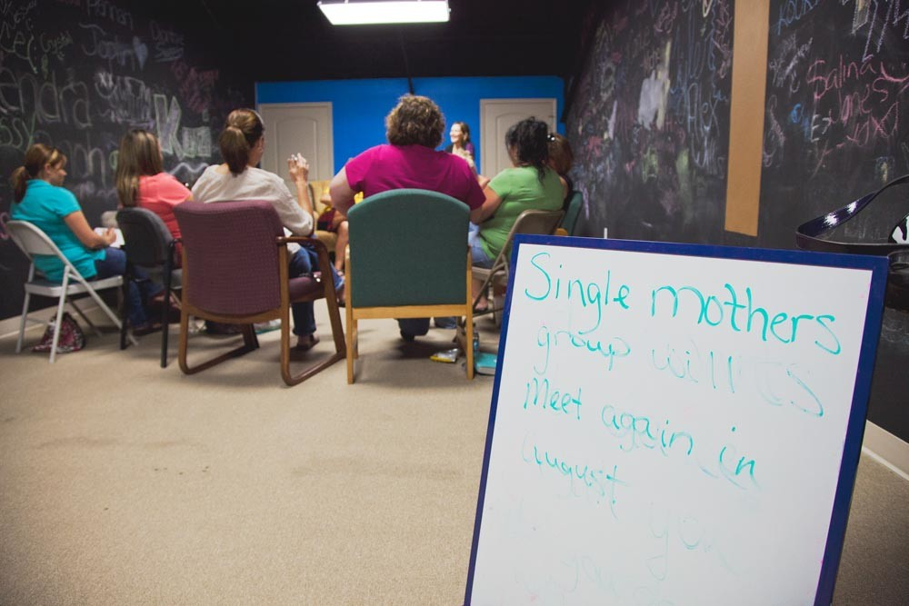 "SUPPORT SYSTEM: Roughly 34 ""care groups"" for single mothers meet regularly through The Caring People network. The newest ones are in Oklahoma."