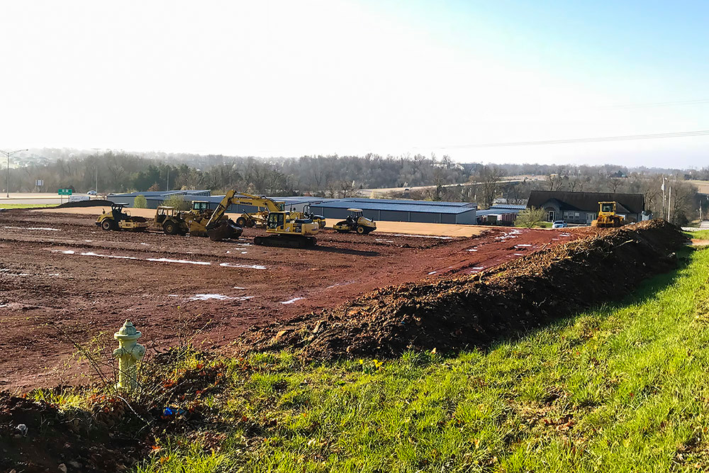 Kenmar Construction crews are prepping the site for Phase II of James River Self Storage.
