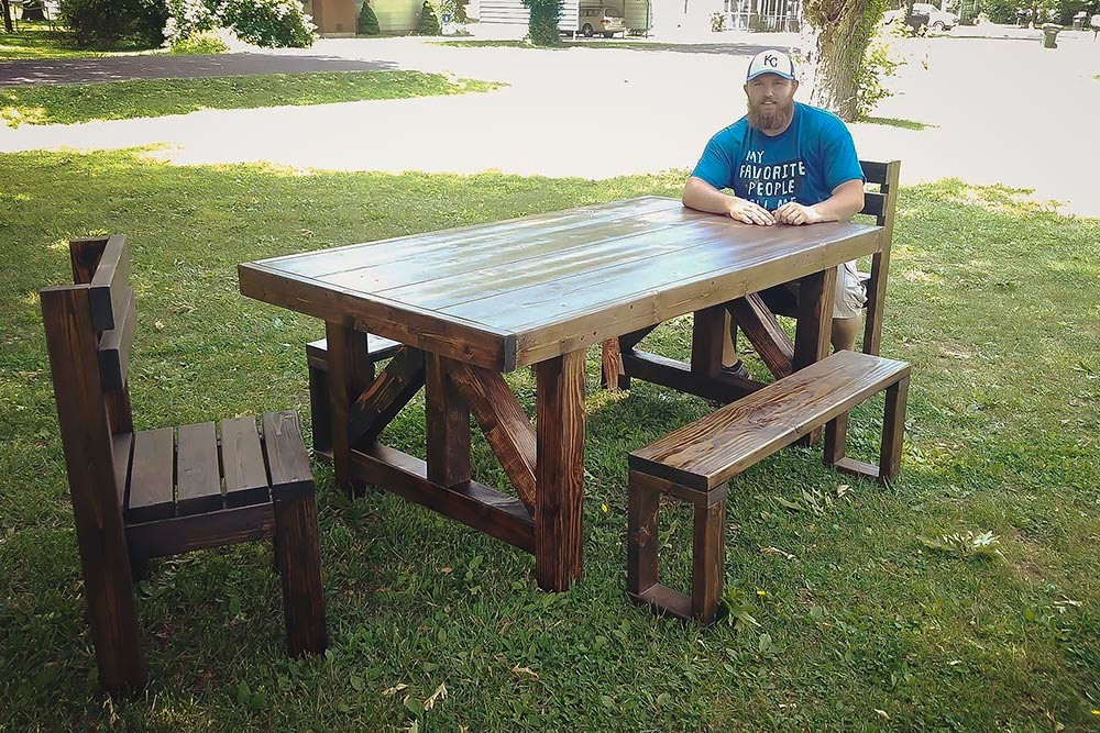 Tyler Viles shows off a completed project in a Facebook post from last year. Today, 10 customers claim he failed to deliver their products.
