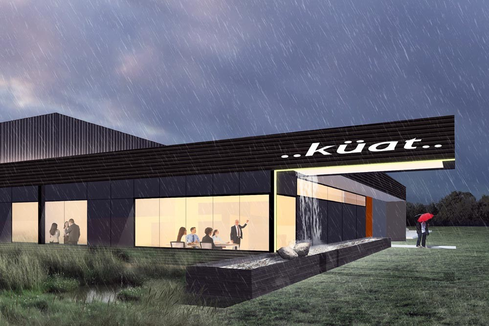 Arkifex Studios designed Kuat Innovation's new headquarters with a rain-fed waterfall.